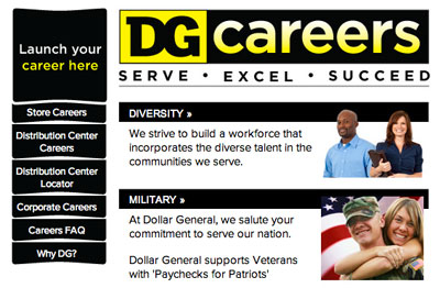 screenshot of career site for Dollar General