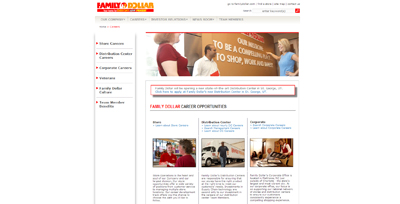 screenshot of career site for Family Dollar