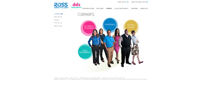 screenshot of career site for Ross