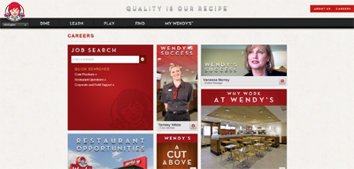 screenshot of career site for Wendy's