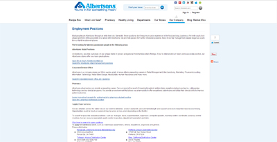 screenshot of career site for Albertsons