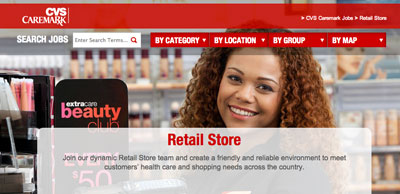 screenshot of career site for CVS Pharmacy