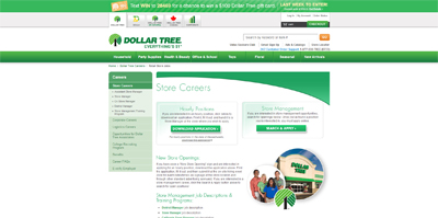 screenshot of career site for Dollar Tree