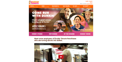 screenshot of career site for Dunkin' Donuts