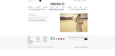 screenshot of career site for Forever 21
