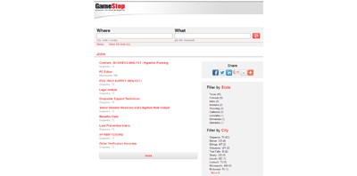 screenshot of career site for GameStop