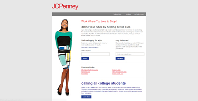 screenshot of career site for JCPenney