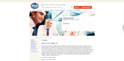 screenshot of career site for Kroger