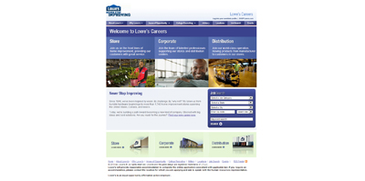 screenshot of career site for Lowe's