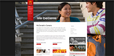 screenshot of career site for McDonalds
