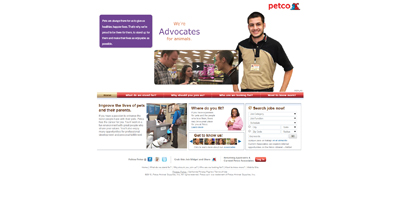 screenshot of career site for Petco