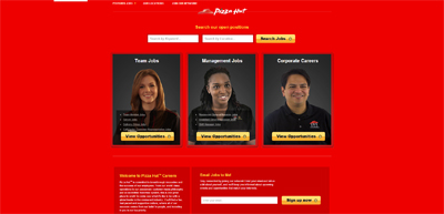 screenshot of career site for Pizza Hut