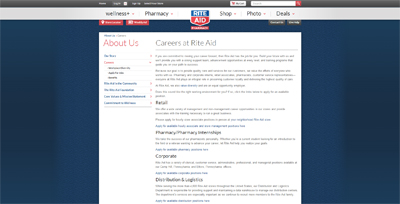 screenshot of career site for rite aid