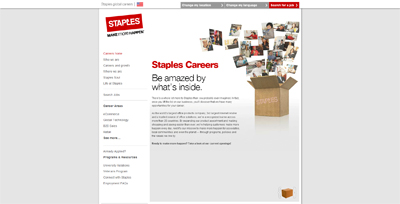 screenshot of career site for Staples