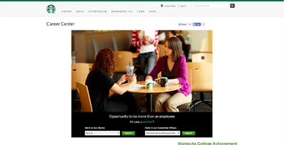 screenshot of career site for Starbucks