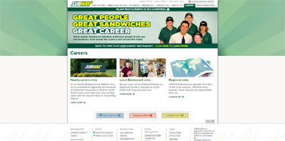 screenshot of career site for Subway
