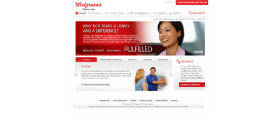 screenshot of career site for Walgreens